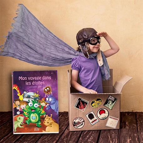 Enfant héros de son histoire personnalisée dans ce livre sur les étoiles