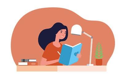 Illustration d'une femme qui écrit un livre