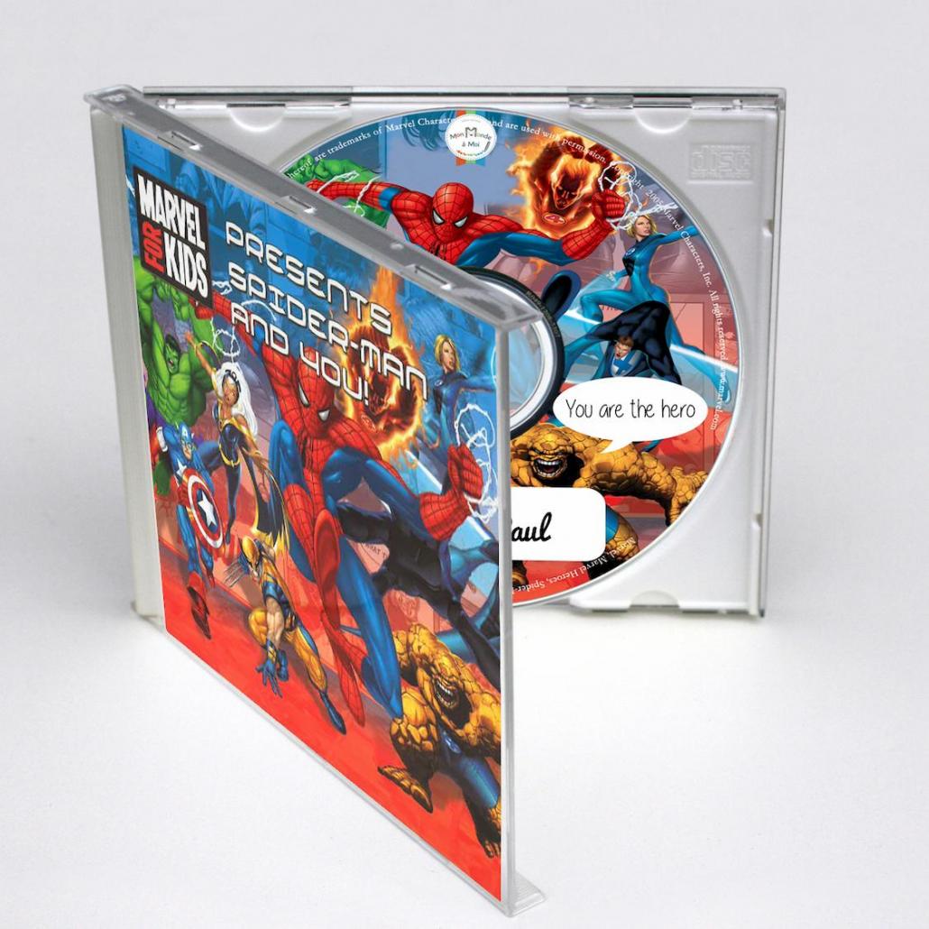 CD personnalisé en anglais pour enfant avec chansons sur spiderman