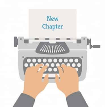 Illustration d'une main qui tape sur la machine à écrire