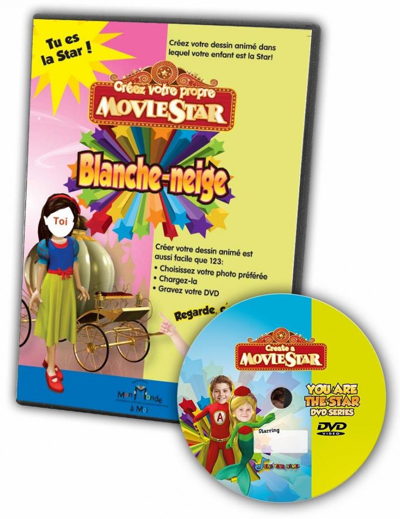 DVD personnalisé enfant avec photo blanche-neige