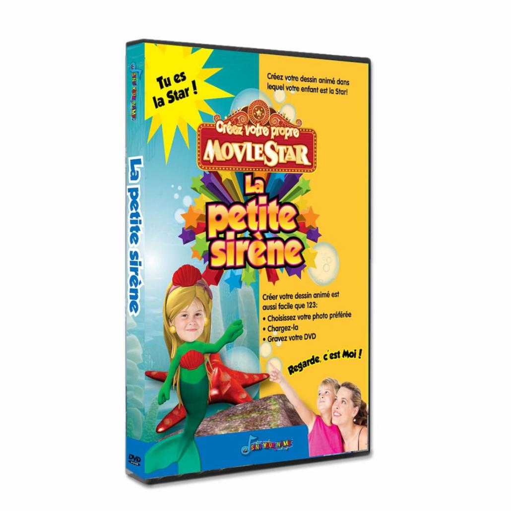 La petite sirène dessin animé personnalisé avec photo enfant
