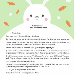 Lettre personnalisée du lapin de Pâques