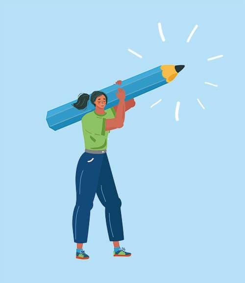 Illustration d'une femme qui porte un crayon sur son épaule