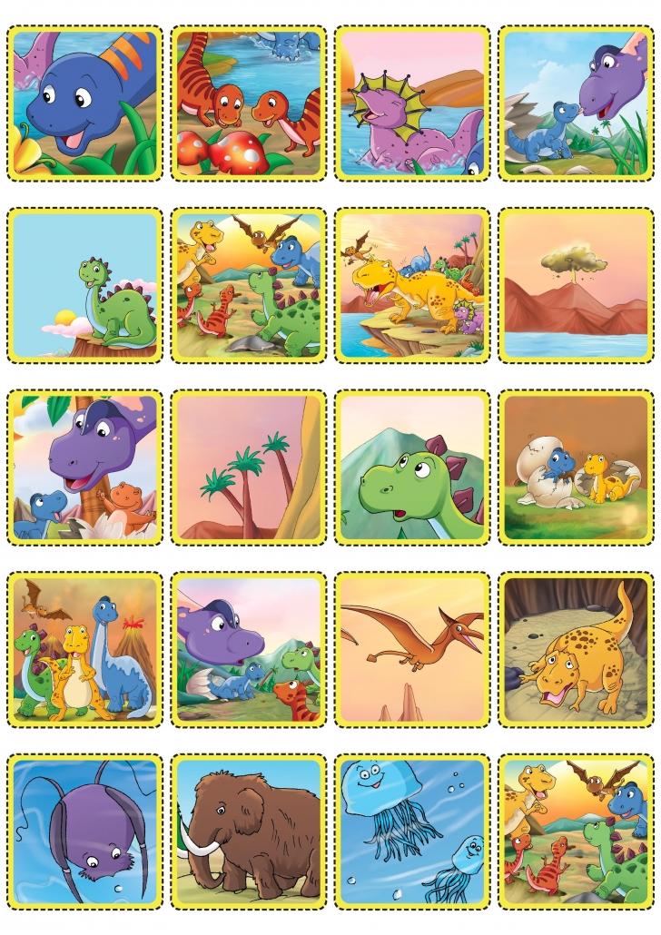 Cartes dinosaures du jeu de loto à imprimer