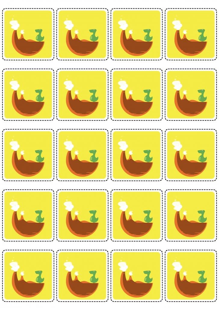 Verso des cartes dinosaures du jeu de loto à imprimer