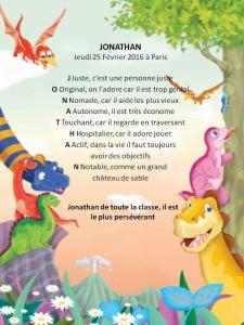 Poème personnalisé dinosaures avec rimes au prénom de l'enfant