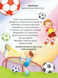 Poème personnalisé pour les enfants sur foot