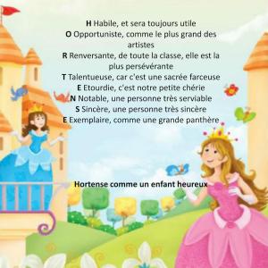 Poème personnalisé princesse avec rimes sur le prénom de l'enfant